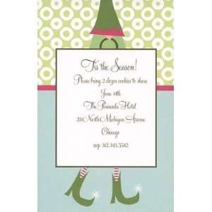 Elf with Gift Bag, Custom Personalized Christmas Invitation, by Bella