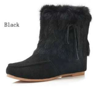 Rabbit fur flat winter booties women shoes ankle boots assorted color