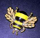 Goldtone Metal Enameled Bumble Bee Brooch