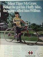 BIKE AD1971 Huffy Super 10 Bicycle~TIGER McGraw Promo