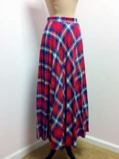 Vintage 1960s Red White and Blue Long Pleated Maxi Skirt