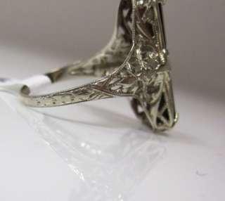 1920S ART DECO 3.05CT DIAMOND GARNET 14K WHITE GOLD FLORAL RING