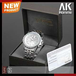 AK Homme Mens Silver Stainless Steel Day Date Automatic Mechanical