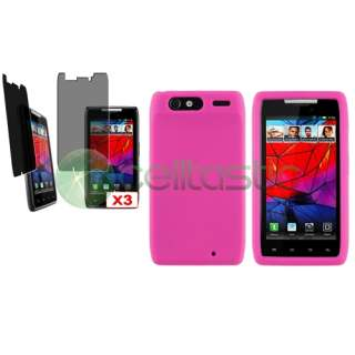 Hot Pink Silicone Skin Case+3x Privacy Screen Protector for Motorola