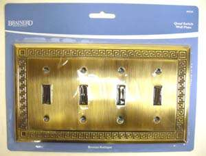 Antique Bronze Greek Key Quad Switch Cover Wall Plate