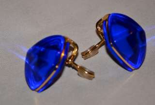 18K SOLID GOLD AUTHENTIC ESTATE BLUE PURPLE CRYSTAL CLIP ON EARRINGS
