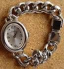 Endura Ladies Bracelet Watch Swiss Made Silvertone Chain Band Floral