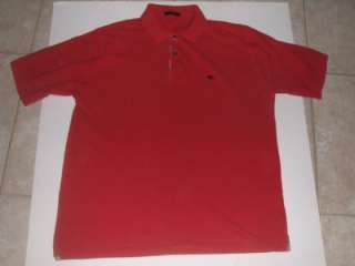 Burberry London Mens Medium Red Short Sleeve Polo Shirt ~