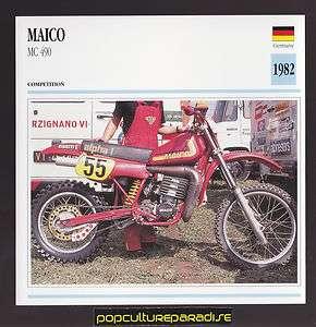 1982 MAICO MC 490 German Dirt Bike MOTORCYCLE ATLAS PHOTO CARD