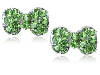 Peridot Emerald Green Crystal Rhinestone Fun Fat Cocktail Bow Tie Stud