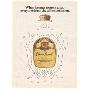 1982 Crown Royal Whisky Bottle Dot to Dot Print Ad