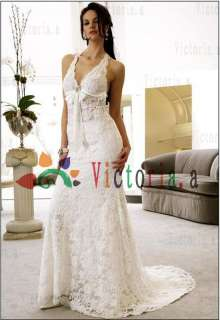 Customized White/Ivory Lace Halter Wedding Dresses/Gowns Size6 8 10