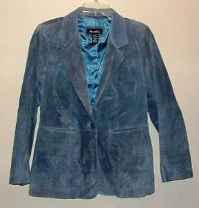 blue suede leather jacket by Denim & Co., size M