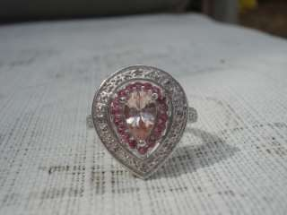 WOW PINK PEACH CHAMPAGNE MORGANITE TOURMALINE DIAMOND RING PLATINUM