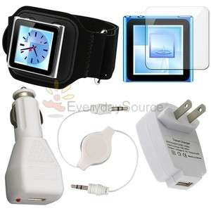 Accessory Bundle for iPod Nano 6 6th Gen G Armband Case Charger