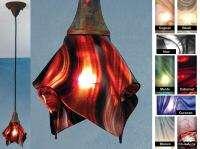 RED SWIRL GLASS 9 Handkerchief Shade PENDANT LIGHT New