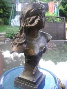 Art Sculpture Bust Spelter /bronze signed Judith