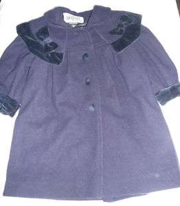 BRAETAN Kids Navy Blue WOOL Dress COAT Quilted Lining