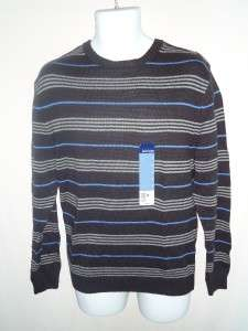Black blue & Gray striped sweater mens l/s choose size