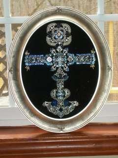 Vintage Rhinestone Jewelry Christmas Tree Framed Cross Art