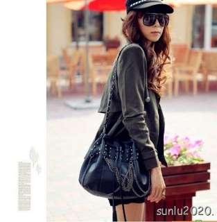 Fashion Design Black Skull PU Leather Tassels Shoulder Handbag Purse