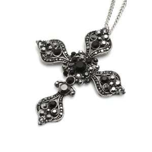 Charm & Rock Crystal Cross Necklace in Antique Silver, Black Crystals