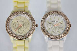 Sub Dials Style Silicone Crystal Soft Rubber Jelly Watch White/Beige