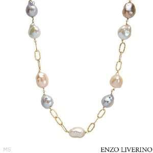 ENZO LIVERINO 18K Yellow Gold Pearl Ladies Necklace. Length 36 in