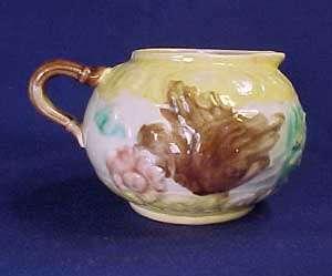Antique Majolica Pottery Bird and Flower 3 Pc. Tea Set