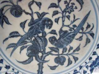 FINE CHINESE RARE BLUE & WHITE PORCELAIN FLOWERS & BIRDS PLATE