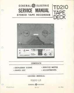 1966 GE TD210 REEL TO REEL TAPE DECK PLAYER SERV MANUAL