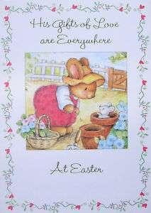 Bunny Rabbit Mouse Garden Flower Pots Happy Easter Card