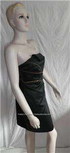 ABS ALLEN SCHWARTZ BLACK SATIN COCKTAIL DRESS SIZES 2&8