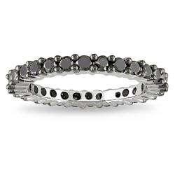 Sterling Silver 1ct TDW Black Diamond Eternity Ring