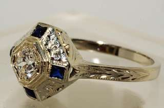 4500 .86CT ANTIQUE ART DECO EUROPEAN CUT DIAMOND ENGAGEMENT RING VVS