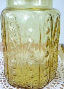 Vintage Amber Glass Cookie / Biscuit Jar