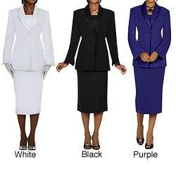 Divine Apparel Womens Plus Size Satin Trimmed Shawl Collar Skirt Suit