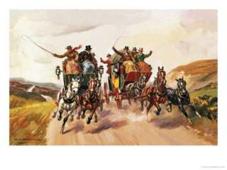 Race Between Stage Coaches Giclee Print by Derek Charles Eyles at