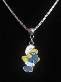 SMURFETTE SILVER BOX CHAIN NECKLACE CHARM PENDANT BELLY RINGS TIE CLIP