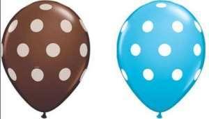 10 Chocolate Brown Blue Aqua Polka Dot Latex Balloons