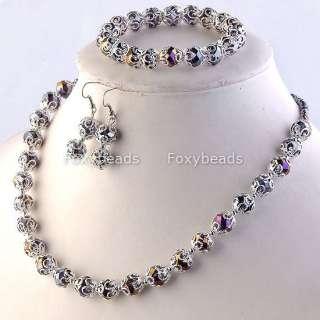 Glass Beaded Necklace Bracelet Earring Flower Jewelry Set Gift