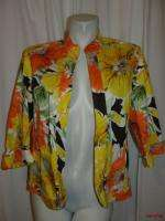 Bright Yellow Orange Green Brown 3/4 Sleeve Jacket Size 16