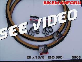 Bicycle 26 x 1 3/8 BIKE 2 TIRES TUBES RIMSTRIPS KENDA