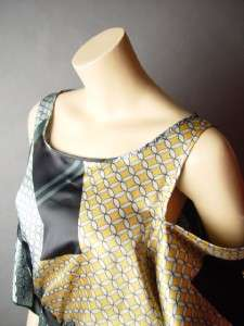 Posh Satin Open Shoulder Cutout Retro Vtg y Geometric Print Tie Waist