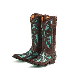 Lane Boots Womens Brown/ Turquoise Poison Cowboy Boots