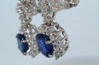 35CT CEYLON BLUE SAPPHIRE & DIAMOND FLOWER EARRINGS 18K WHITE GOLD VVS