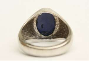 MENS RING VINTAGE ESTATE CLASSIC BLUE STAR SAPPHIRE 10K WHITE GOLD