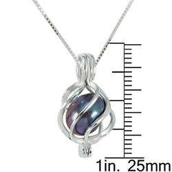 Sterling Silver Black Pearl Cage Necklace (8 mm)