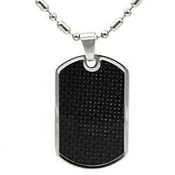 Mens Stainless Steel Black Carbon Fiber Dog Tag Necklace