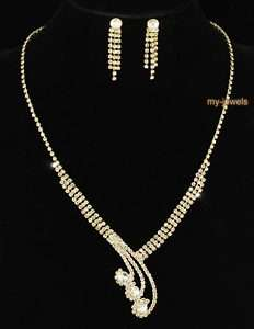 Bridal Crystal Gold Plated Necklace Earrings Set S1071